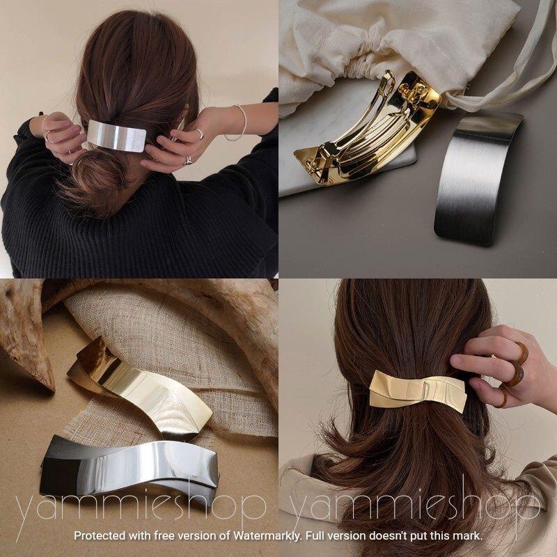 華麗現代金屬風 首爾同步款 金屬 寬版 大型 髮夾 彈簧夾 馬尾夾 一字夾  髮飾zfj11