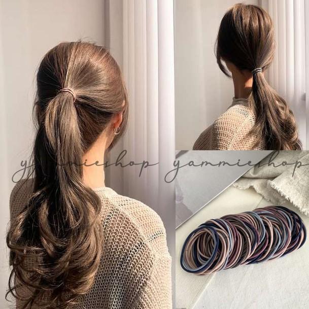 東大門的基本款 韓系人氣 高彈力 綁頭髮 素色 髮圈 髮束 細款髮繩 100條裝 zfb2