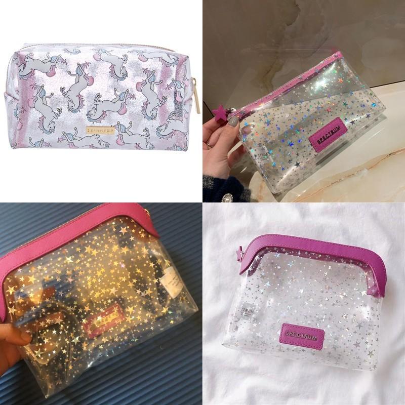 霧面矽膠半透明 英倫 星星獨角獸 化妝包 盥洗包 包中包 旅行整理 萬用收納包  sbh383941