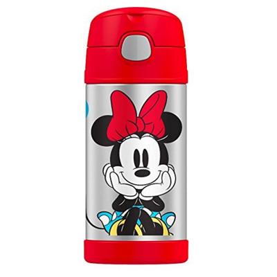美國 THERMOS 膳魔師 不銹鋼保溫瓶 吸管水壺 兒童水杯 新款提把-紅米妮 (6.8折)
