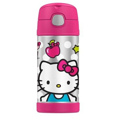 美國 THERMOS 膳魔師 不銹鋼保溫瓶 吸管水壺 兒童水杯 新款提把-Hello Kitty (7.5折)