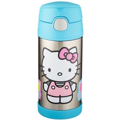 美國 THERMOS 膳魔師 不銹鋼保溫瓶 吸管水壺 兒童水杯 新款提把-Kitty (6.8折)