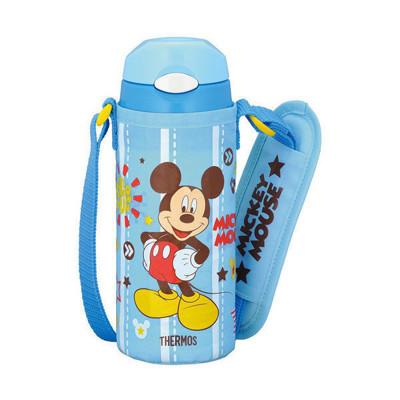 台灣公司貨 THERMOS 膳魔師兒童水杯 不銹鋼保溫瓶 新款(附背帶+備用吸管一組)-米奇 (7.3折)