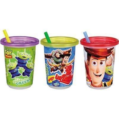 日本 Tomy Toy 玩具總動員 吸管杯(296ml) 兒童水杯 學習杯 附蓋吸管水杯(3入1組) (8折)