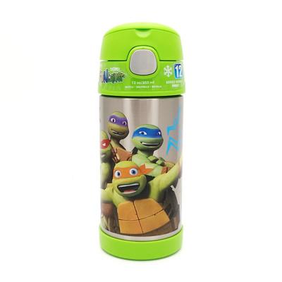 美國 THERMOS 膳魔師 不銹鋼保溫瓶 吸管水壺 兒童水杯 新款提把-忍者綠 (6.8折)