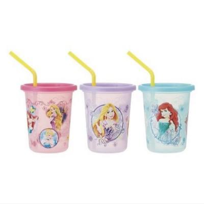 日本製 迪士尼 公主系列 吸管杯 兒童水杯 學習杯 附蓋吸管3入320ml (7.3折)