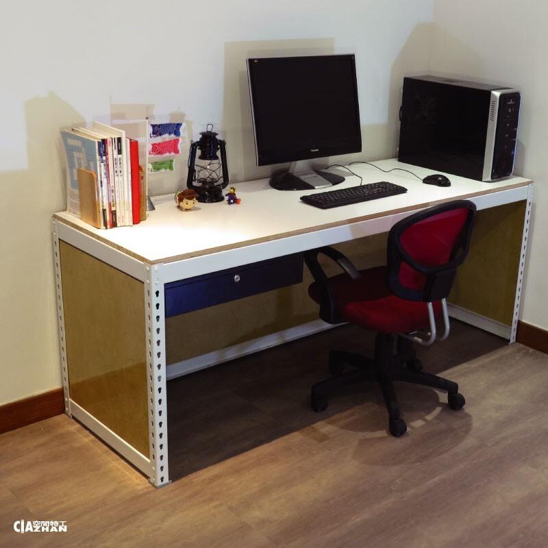 象牙白免螺絲角鋼b款工作桌 長6尺x深2x高2.5空間特工含抽屜 有色封板 簡約書桌 辦公傢俱