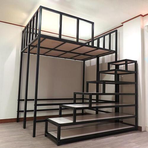 雙人床高架床架全新免運空間特工架高床 挑高床 組合床 收納型樓梯櫃 床組38mm方管