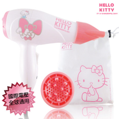 HELLO KITTY 國際電壓迷你吹風機 附集中吹嘴/烘罩   KT-888s (6.2折)