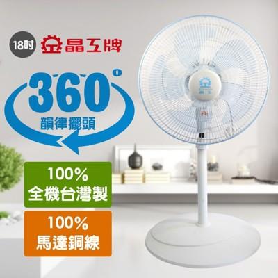 【晶工牌】台灣製造18吋360度旋轉風扇 S1837 (6.1折)