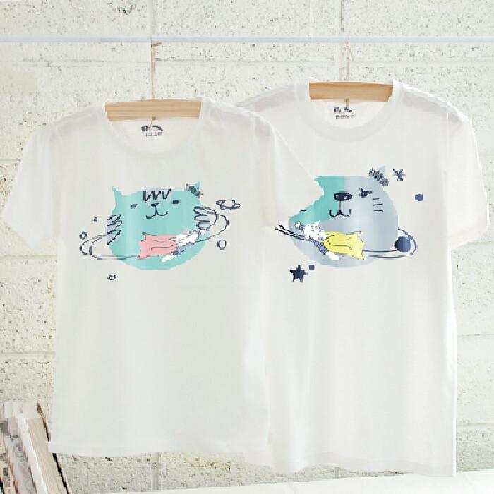 情侶裝繞著你公轉 純棉t-shirt 插畫家手繪款
