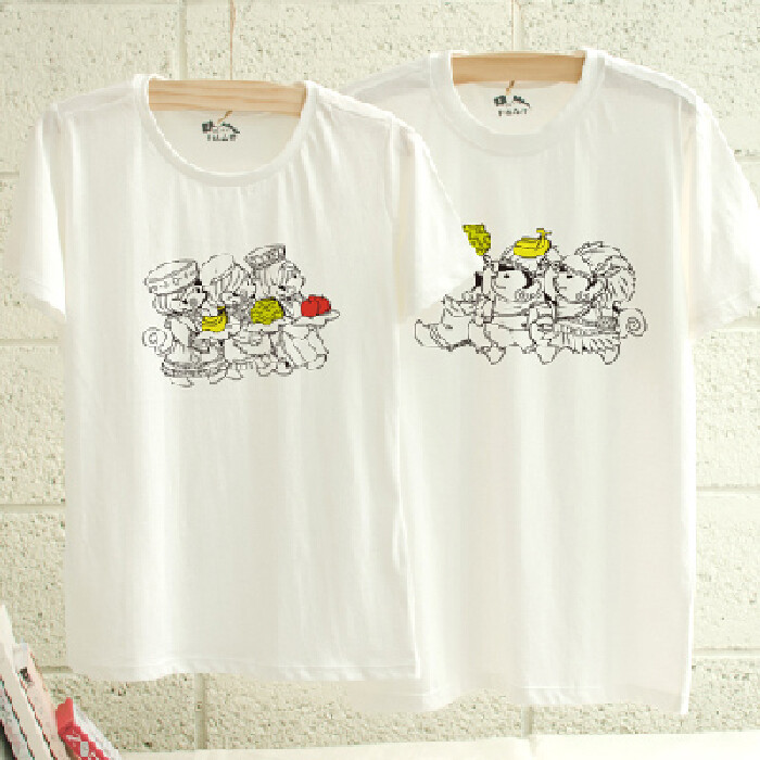 情侶裝猿始人配配對 純棉t-shirt 插畫家手繪款
