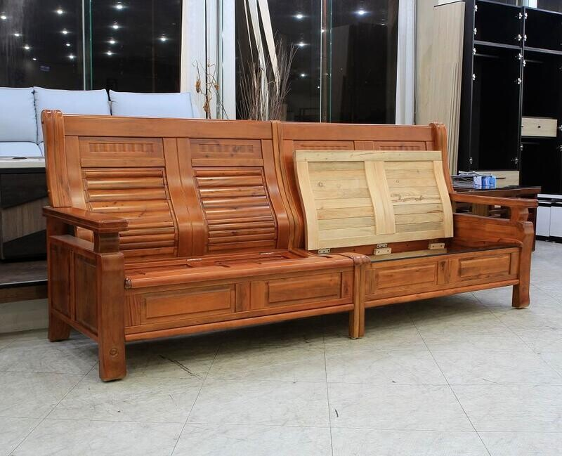 歐風別館梵谷香樟木全實木木板椅組--四人座上掀收納~另有l型~基隆至台中免運費