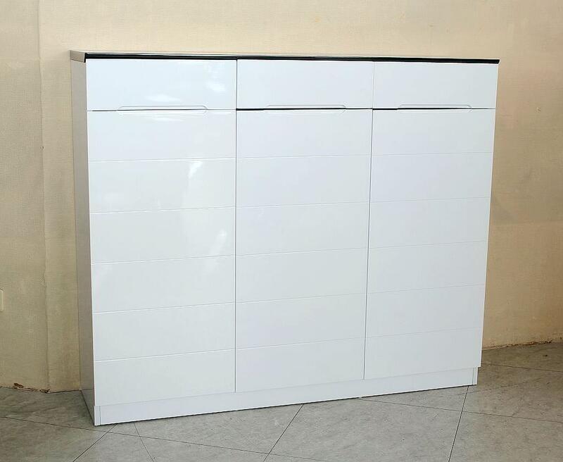 歐風別館晶采四尺白色烤漆鞋櫃基隆至台中免運費