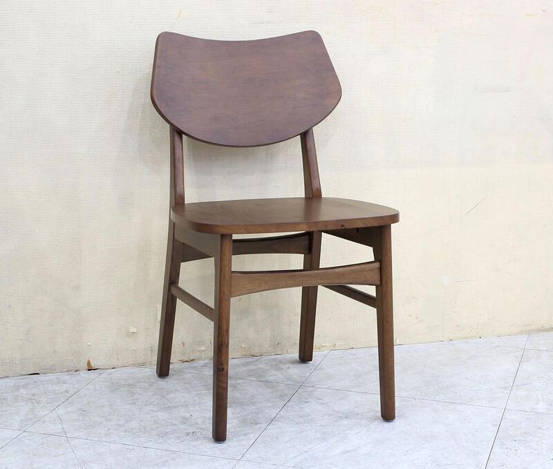 歐風別館冰島胡桃色實木木面餐椅