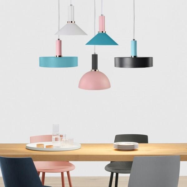 18park-精品館吊燈 [燈座-14cm,燈座-粉紅色,燈罩顏色-粉藍色,燈罩-圓盤]