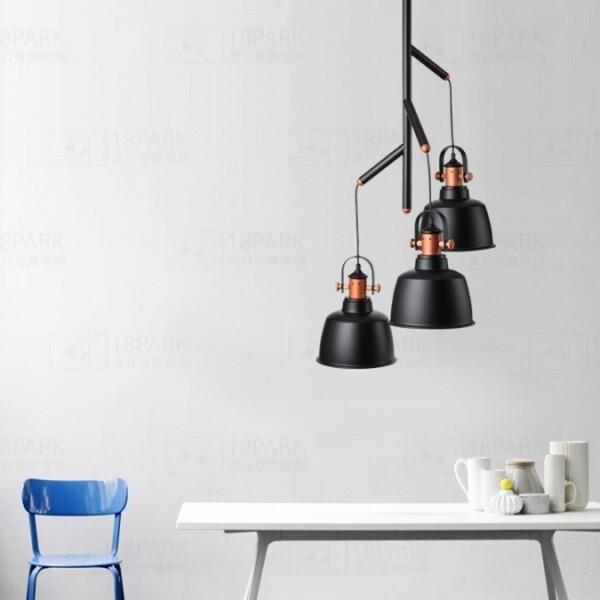 18park-格雷吊燈-三燈/10色 [鍍紫玻璃燈罩,燈體白]