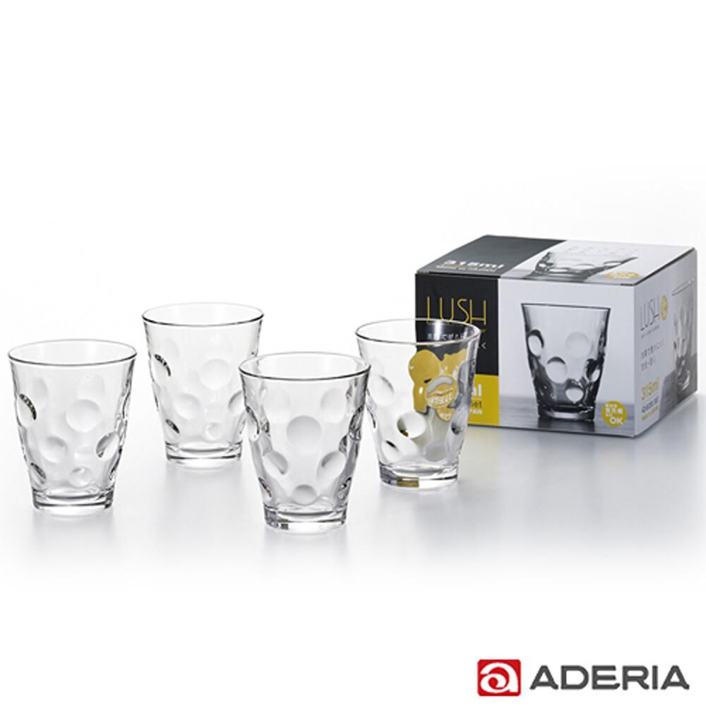 aderia日本進口玻璃酒杯四件套組315ml(圓點款)