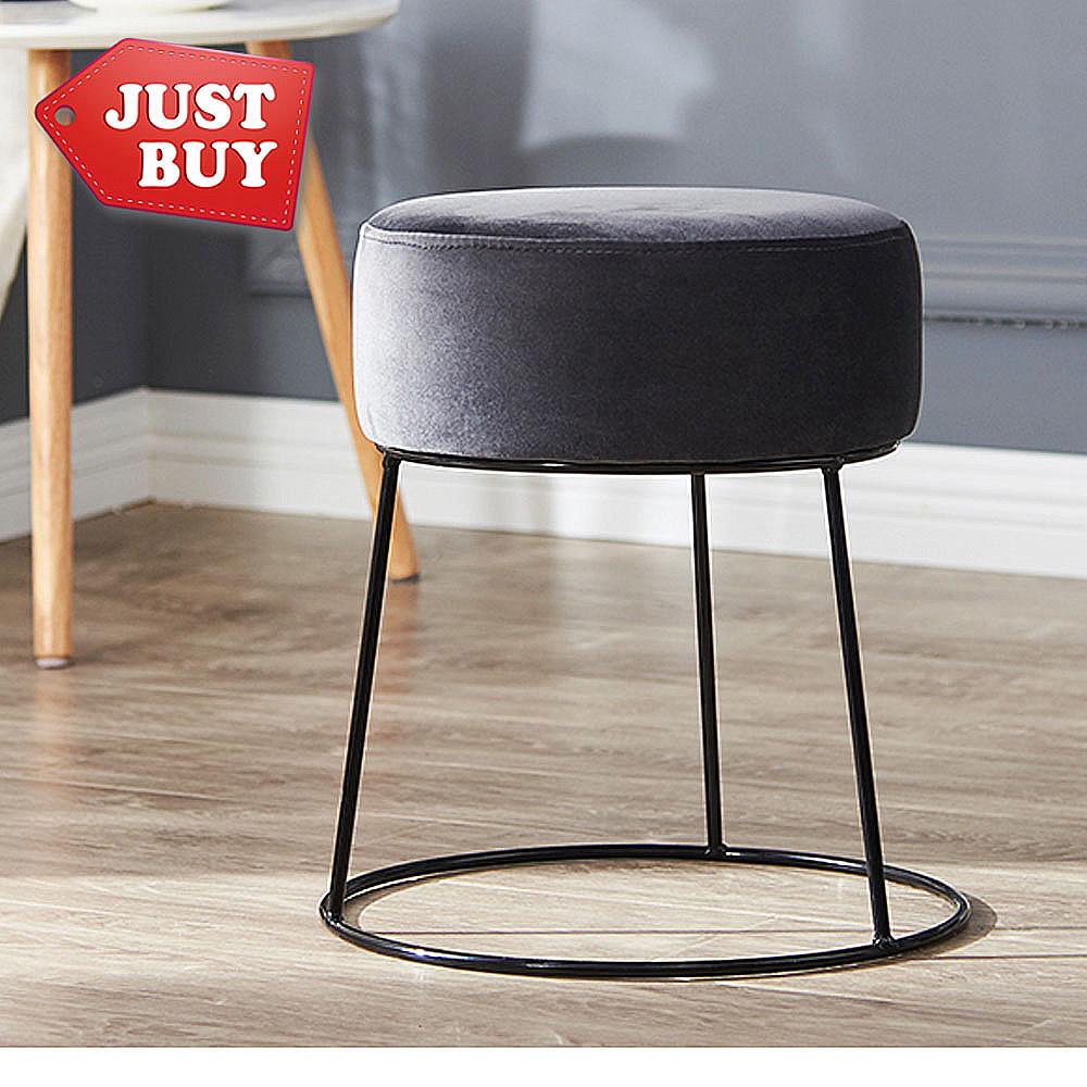 justbuy經典絲絨布金屬椅凳(灰黑色)