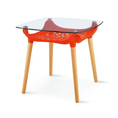 【ONE 生活】黛亞時尚80玻璃方桌(紅) (5.8折)