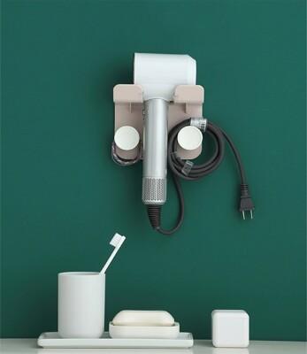 吹風機架 壁掛吹風機置物架電線收納 浴室防水收納置物架 透明貼 免鑽牆 無痕免打孔 (6.8折)