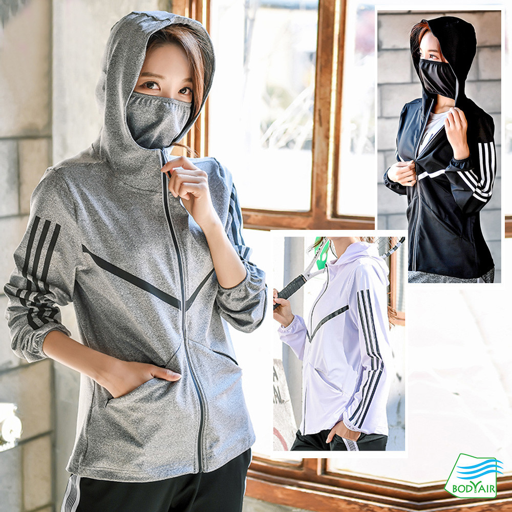 bodyair嚴選罩臉式流線反光條連帽外套(運動.健身.慢跑)