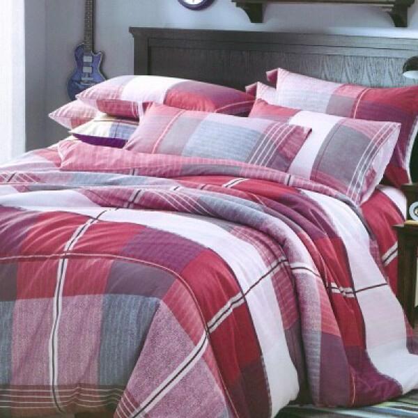 遇見生活雙人加大四件組-專利吸濕排汗萊賽爾天絲 兩用被床包組英格麗紅