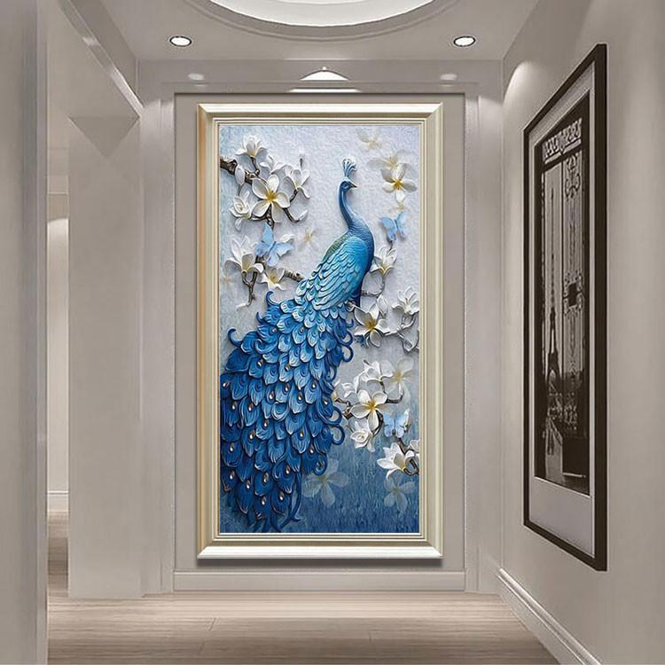 現代簡約過道走廊掛畫歐式玄關客廳餐廳壁畫書房北歐裝飾畫藍孔雀mbs全館免運