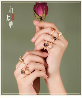轉運戒指 鳳凰涅磐水晶緬甸玉戒指女民族風小眾設計指環轉運珠尾戒流行飾品 (5折)
