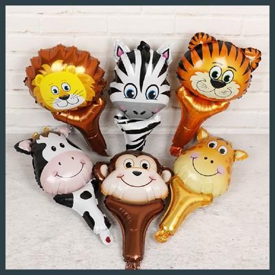 【現貨】手持氣球棒 動物造型 手持 玩具充氣 斑馬 猴子 獅子 老虎 長頸鹿 乳牛【氣球快易】 (0.9折)