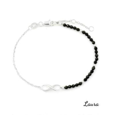 -Laura- 水晶 <無限力量> 黑尖晶 天然水晶純銀手鍊 (4.3折)