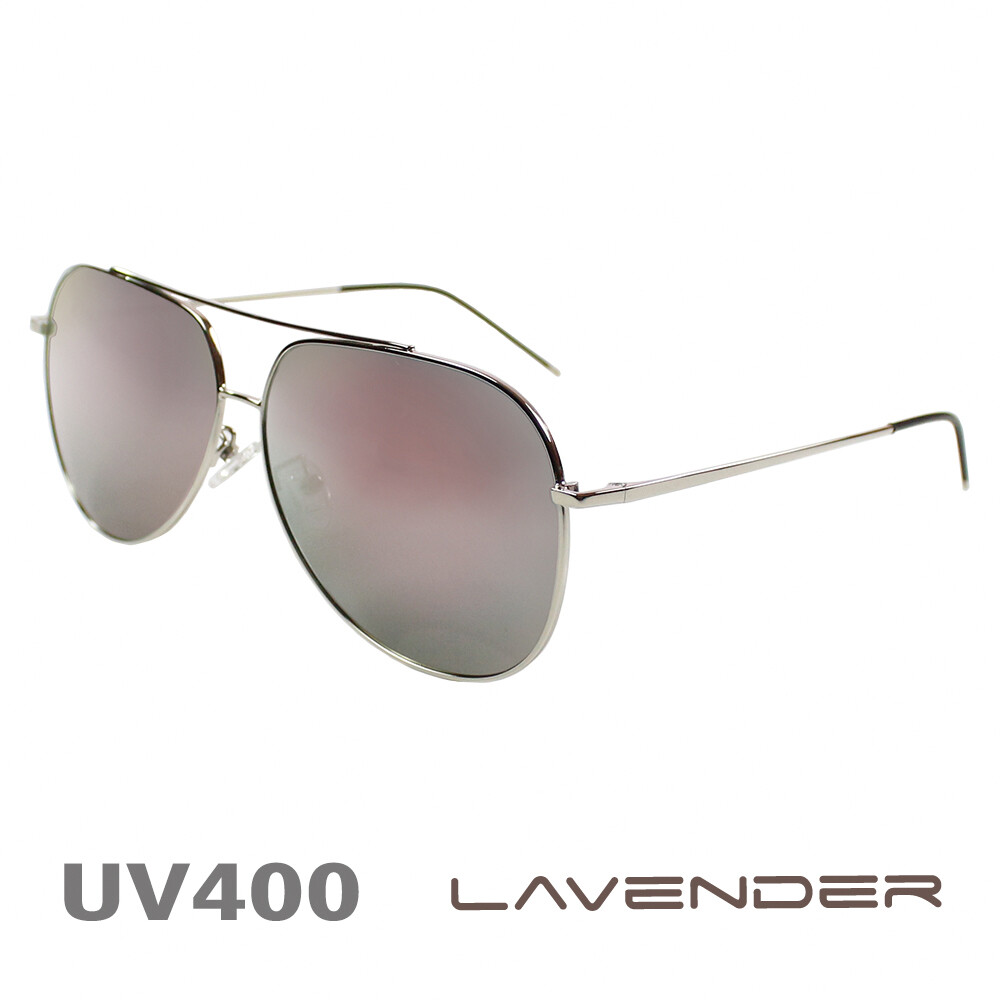 lavender 偏光片太陽眼鏡 雷朋款時尚鏡腳 紫粉水銀片 8074 c3