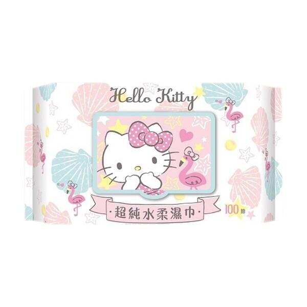 hello kitty~超純水柔濕巾(加蓋100抽)  三麗鷗授權濕紙巾/濕巾/柔濕巾
