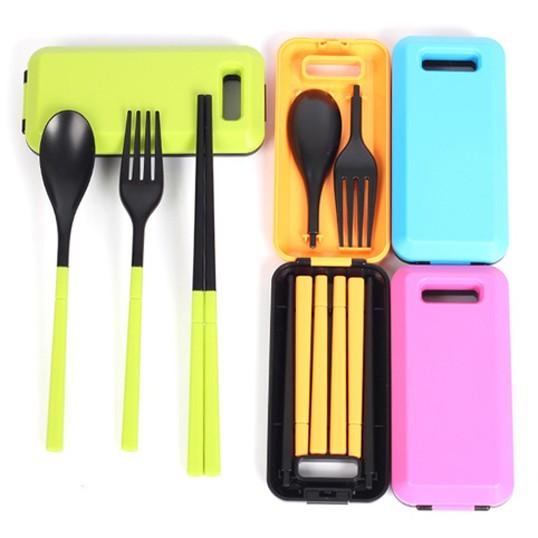 韓版糖果色便攜式環保餐具三件組(不挑色)  餐具組/環保餐具組/糖果色餐具組