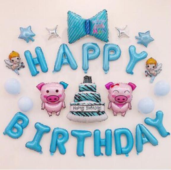 (扁頭手推打氣筒)生日套餐 生日佈置 生日 氣球 房間裝飾 打氣筒 慶生 造型氣球葉子小舖