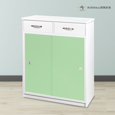 【米朵Miduo】2.7尺塑鋼拉門兩抽鞋櫃 防水推門鞋櫃 (6.7折)