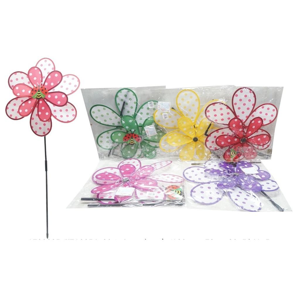 39公分 點花風車 點點蜜蜂 插地 風車 花朵造型風車 戶外休閒 花園裝飾 yf12254