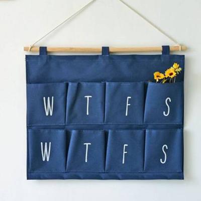 zakka壁掛 8口袋棉麻素色計劃星期行程表收納 牆壁掛式收納袋 多層置物壁掛袋 (4.1折)