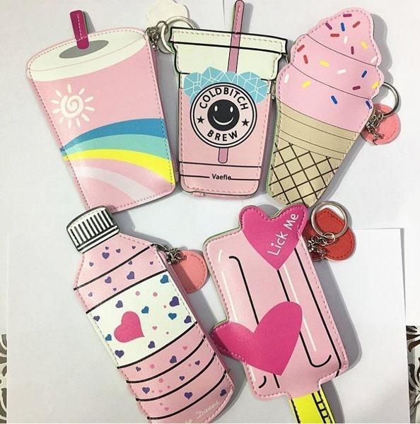 韓國創意飲料零錢包 冰淇淋寶特瓶 迷你造型兒童硬幣包 卡包小包包鑰匙扣