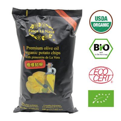 【芬拿有機農場】特級冷壓初榨橄欖油油炸 有機橄欖油洋芋片-煙燻甜椒 (5折)