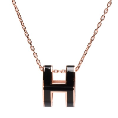 【Hermes 愛馬仕】 經典Pop H立體簍空橢圓LOGO項鍊H147991FP(黑色) (8.6折)