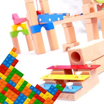 【funKids】木製-兒童創意積木拼接彈珠滑梯(100PCS) (5.3折)
