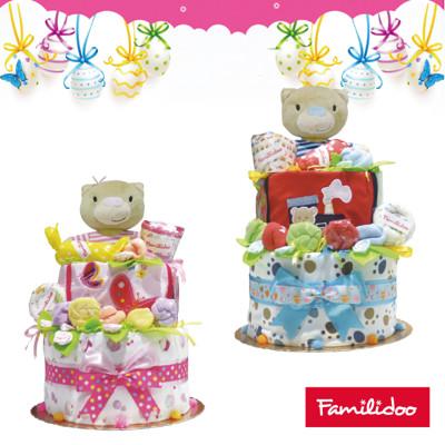 [Familidoo]新生兒禮盒/三層尿布蛋糕(米多熊) (8.9折)