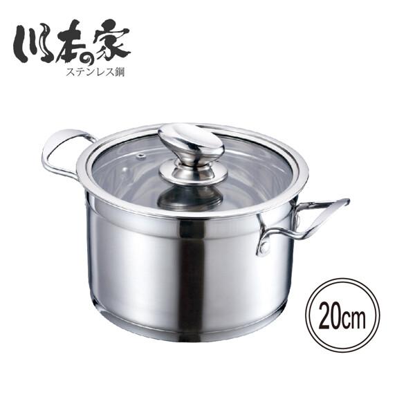 川本家 304不鏽鋼20cm複底湯鍋3.2l ja-p20s