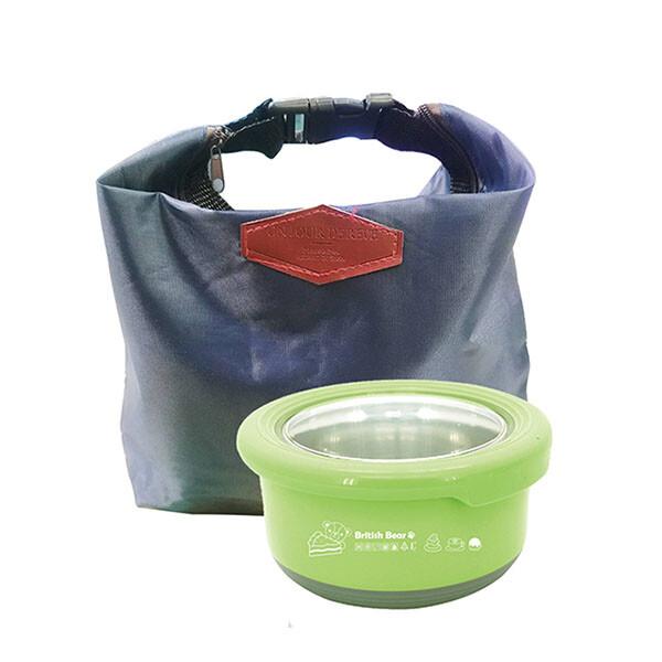 免運 英國熊 馬卡龍保鮮盒730ml+扣環保溫保冷袋 up-a038l+ak-08073