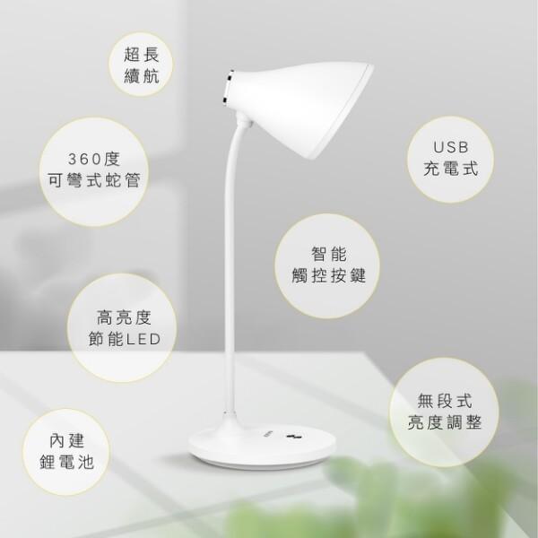 免運 kinyo 無線大廣角led檯燈3000mah pled-4185