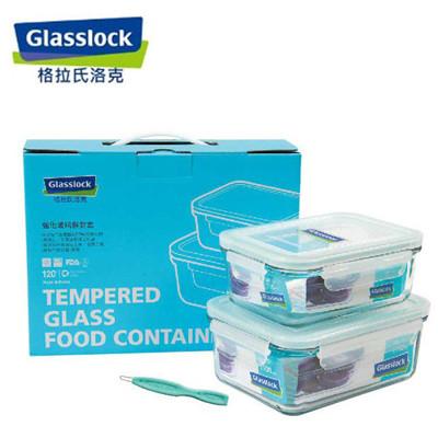 韓國【Glasslock】二件式強化玻璃保鮮盒實用組(715ml+1100ml)贈膠條易取棒 (7.3折)