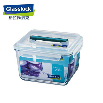 韓國【Glasslock】手提長方強化戶外野餐大容量玻璃保鮮盒3700ml (6.9折)