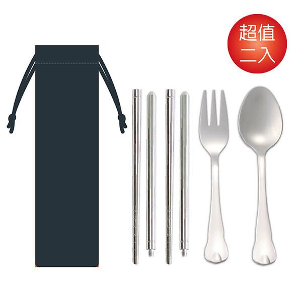 螺旋雙截筷+湯叉環保餐具2入組 kb-752