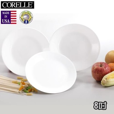 《CORELLE》美國康寧餐具8吋平盤3件 -純白 (7.5折)